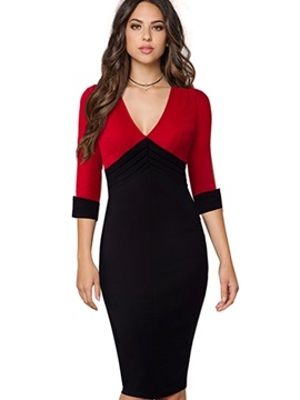 Hot V Neck Long Sleeve Bodycon Dress