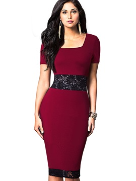 Dark Red Long Sleeve Bodycon Dress