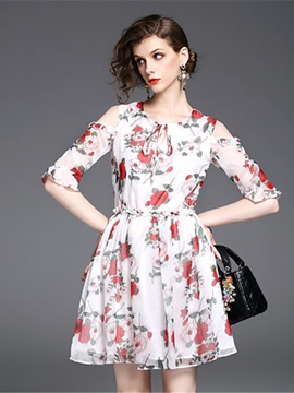 Floral Imprint Round Neck Womens Skater Dress