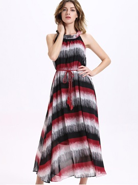 Color Block Sleeveless Womens Maxi Dress
