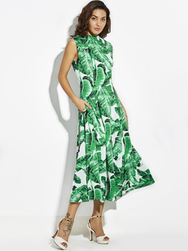 Hot Sleeveless Floral Imprint Womens Maxi Dress