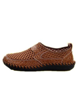 Mesh Patchwork Slip On Round Toe Mens Shoes