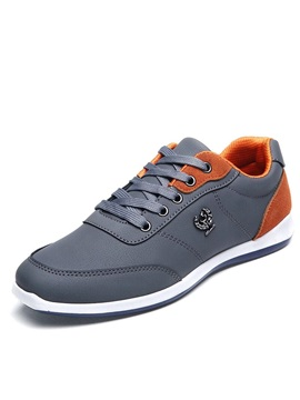Pu Lace Up Color Block Athletic Sneakers