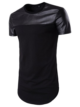 Pu Patchwork Mid Length Mens Casual T Shirt