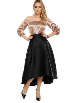 Plain Asymmetrical Ankle Length Skirt