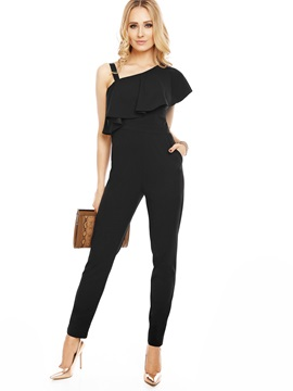 Falbala Backless Black Slim Jumpsuit