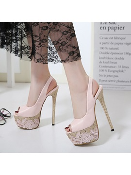 Pu Elastic Band Lace Peep Toe Womens Sandals