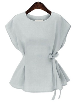 Plain Loose Round Neck Bowknot Blouse