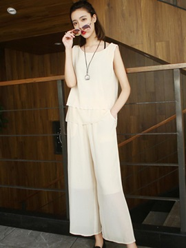 Chiffon Round Neck Vest Wide Legs Ankle Length Pants 2 Piece Sets