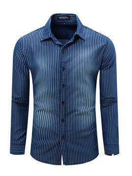 Stripe Print Lapel Slim Fit Mens Denim Shirt