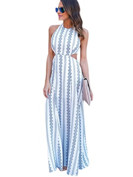 Stripe Sleeveless Womens Maxi Dress