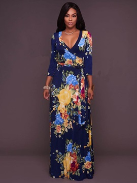 Floral Imprint V Neck Long Sleeve Maxi Dress