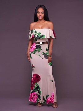Floral Imprint Off Shoulder Maxi Dress