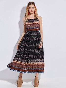 Geometric Pattern Print Womens Maxi Dress