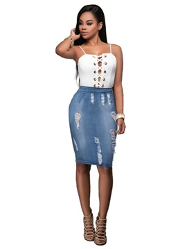 Hole Vest Denim Worn Zipper Skirt 2 Piece Sets