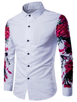 Flower Printed Lapel Floral Plain Slim Mens Shirt