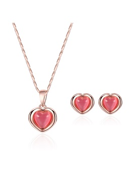 Pink Heart Shaped Rhinestone Jewelry Sets