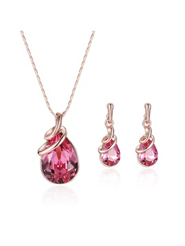 Pink Pear Crystal Pendant Jewelry Sets