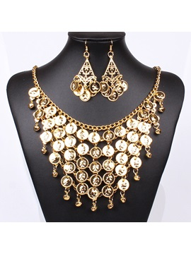 Indian Style Multilayer Alloy Slice Figure Tassel Hollow Out Headwear Necklace Belly Dance Jewelry Sets