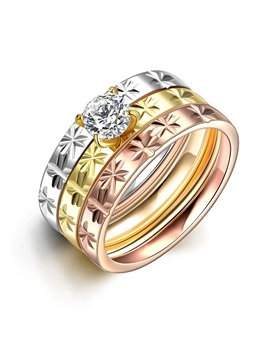 Floral Figure Titanium Diamond Shaped Three Layers Group Rings