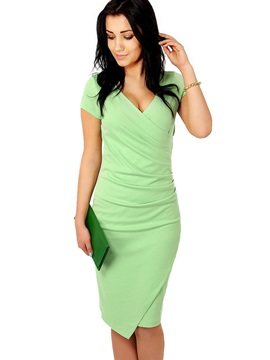 Short Sleeves V Neck Bodycon Womens Dress
