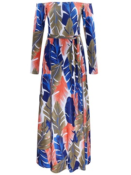 Print Off Shoulder Long Sleeve Womens Maxi Dress