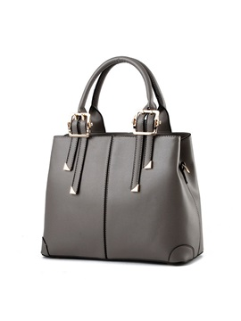 Concise Solid Color PU Satchel