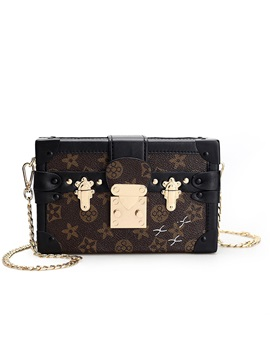Box Type Latch Decoration Crossbody Bag