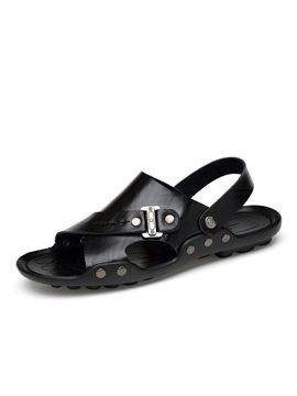 Pu Open Toe Plain Mens Sandals