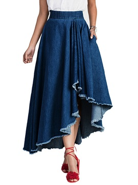 Denim High Waist Asymmetric Pleated Tassel Skirt