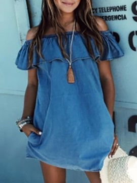 Denim Off Shoulder Volant Day Dress
