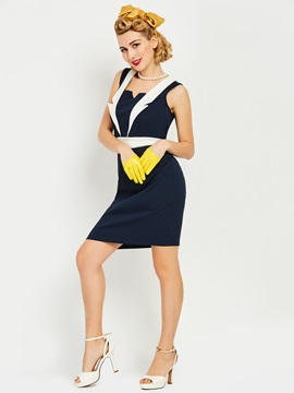 Sleeveless Knee Length Womens Bodycon Dress