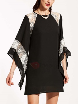 Mesh Patchwork Flare Sleeve Womens Day Dress