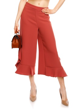 Plain Falbala Patchwork Wide Legs Casual Pants