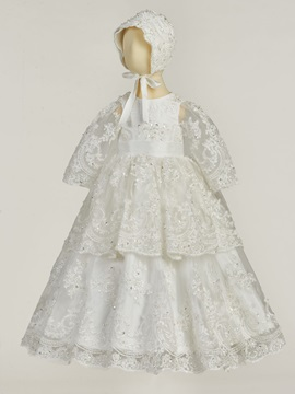 Sequined Tiered Appliques Baby Girls Christening Gown
