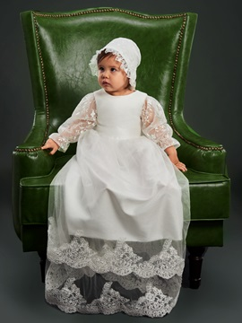 Adorable Tiered Appliques Lace Long Sleeve Christening Dress For Baby Girl