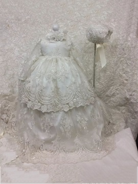 Infant Baby Girls Sequins Appliques Christening Gown With Bonnet