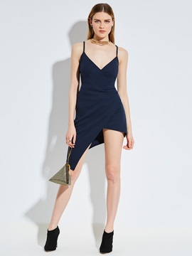 Spaghetti Strap Asymmetric Womens Day Dress