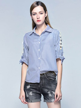 Lapel Stripe Hollow Shirt