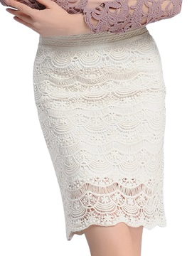 Lace Hollow High Waist Skirt