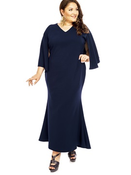 Solid Color Cape Sleeve Plus Size Womens Maxi Dress