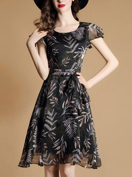 Chic Floral Imprint Short Sleeve Chiffon Short Day Dress