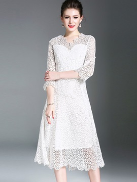 Dazzling Half Sleeve Womens Lace Dress
