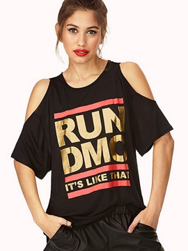 Loose Letter Print Cold Shoulder T Shirt