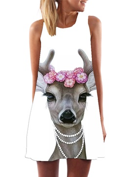 A Line Deer Print Sleeveless Day Dress