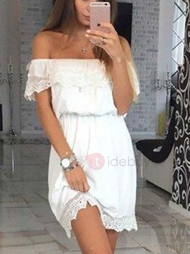 Off Shoulder Falbala Short Day Dress