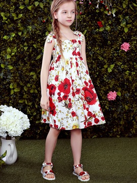 Flower Spaghetti Strap Girls Dress