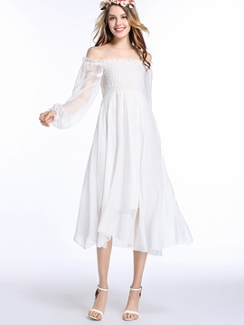 White Boat Neck Long Sleeve Dress