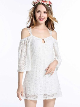 White Off Shoulder Short Day Dress