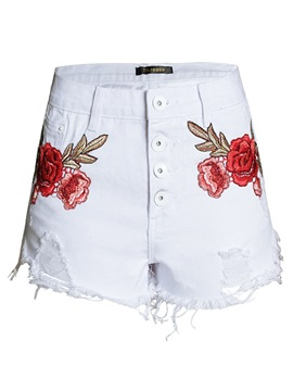 Denim Embroidery Floral Hole Straight Shorts